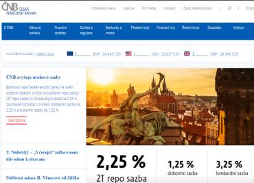 ČNB s novým kabátem webových stránek i novými úrokovými sazbami. S vyhlášením zvýšení úrokových sazeb o 25 bazických bodů se měnový kurz koruny se dostal i pod 25 CZK/EUR. (6. 2. 2020)