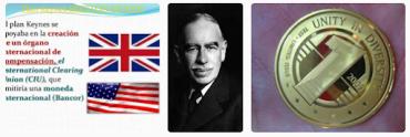 Keynesův plán clearingové Unie a zúčtovací jednotky bancor. Bývá označován jako britský plán, který při utváření měnového systému stál v opozici plánu americkému. Mince vpravo je podvrh a fake, bancor neměl být oběživem a nikdy v podobě mincí ani neexistoval.
