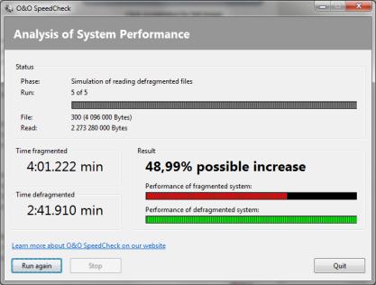 Pomocí O&O SpeedCheck zjistíte, jaký rozdíl ve výkonu je mezi defragmentovaným a fragmentovaným diskem