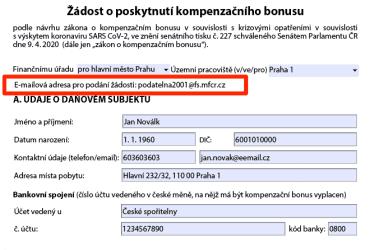 E-mail najdete v záhlaví formuláře, vygeneruje se automaticky.