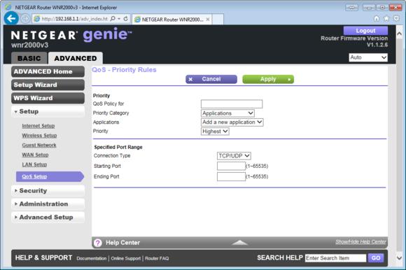 Tento směrovač Netgear WNR2000 802.11n má službu QoS předem nastavenou pro určitý omezený počet aplikací. Nicméně na vás je, abyste nastavili svá vlastní pravidla pro vše ostatní, na co výrobce nepomyslel.