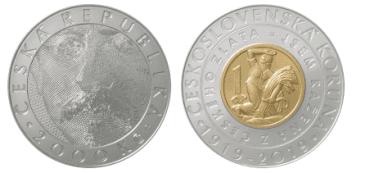 Pamětní bimetalová mince s nominální hodnotou 2000 Kč.