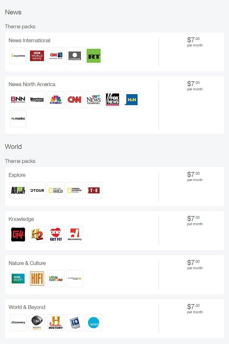 Telus - prémiové balíčky – zpravodajské, mezinárodní a jazykové
