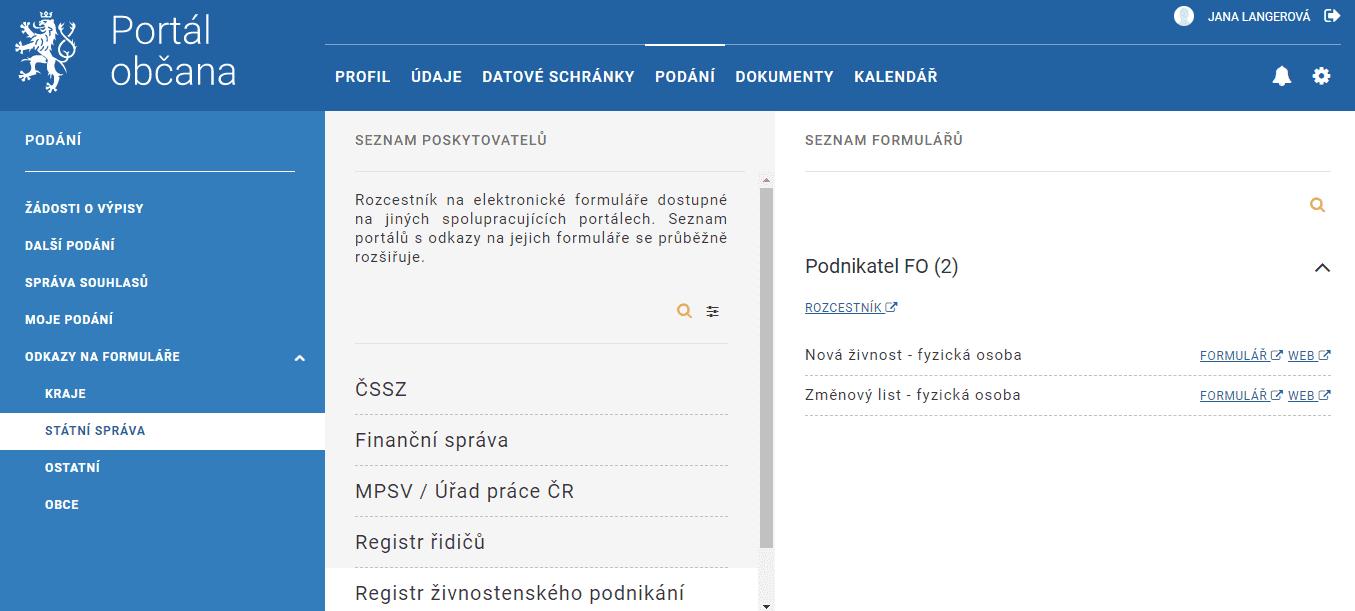 Založení živnosti v Portálu občana