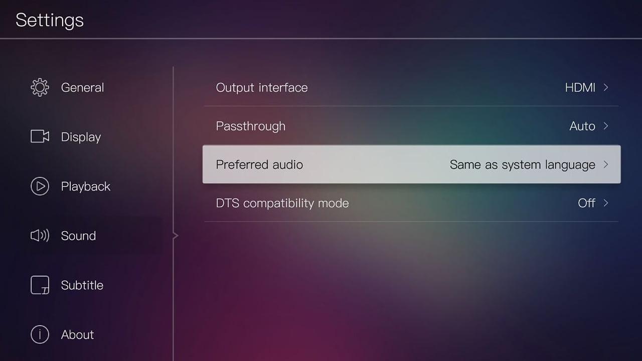 Egreat A10 - Menu nastavení – nastavení audia
