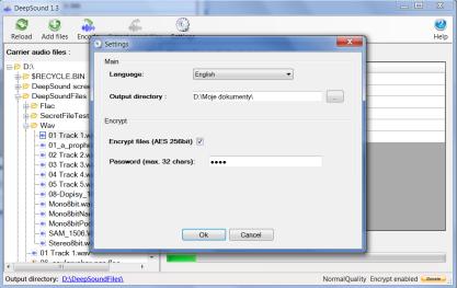 DeepSound zašifruje soubor do hudby ve formátu VAW a FLAC