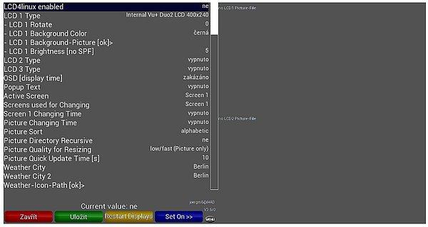 Možností nastavení zobrazení na LCD displeji v menu je nepřeberné množství a jsou rozděleny do čtyřech skupin (čert aby se v tom vyznal). Postupoval jsem víceméně systémem pokus/omyl, než jsem se dopídil ke všem možnostem. Vybíráte asi z 80ti možností. Výsledek vede ovšem k plné spokojenosti a na displeji se vám střídají obrazy které si přejete zobrazovat včetně velikosti fontů, obrázků, různého pozadí atd. Osobně bych uvítal, aby se na displeji jako další možnost mohl objevit také požadovaný obraz z předvoleného kanálu.