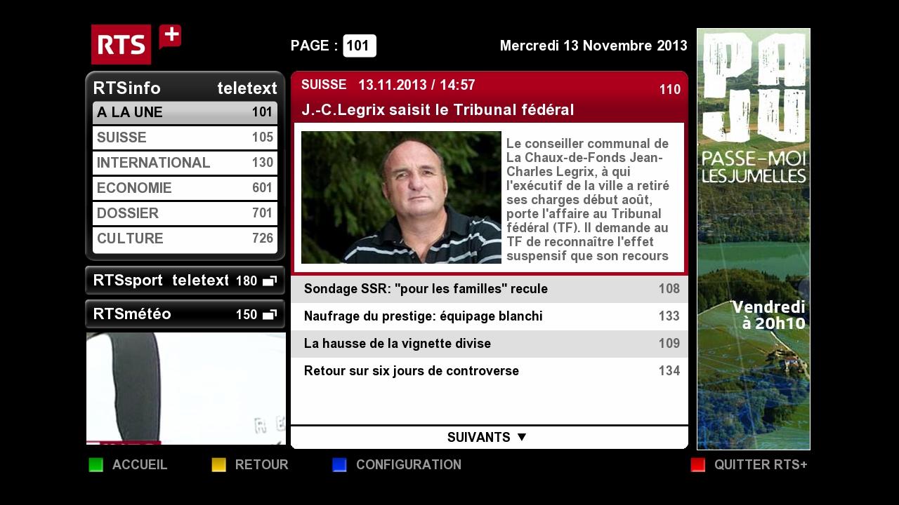 Hybridní vysílání veřejnoprávní televize RTS ze Švýcarska