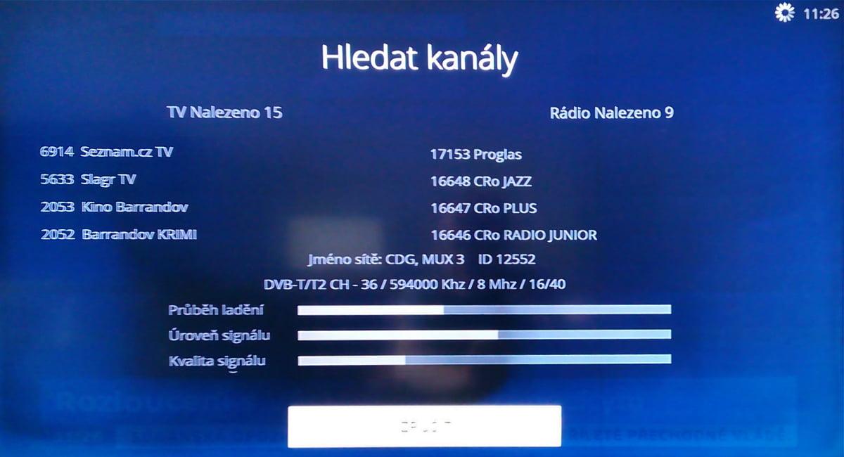 Průběh ladění DVB-T na O2 TV