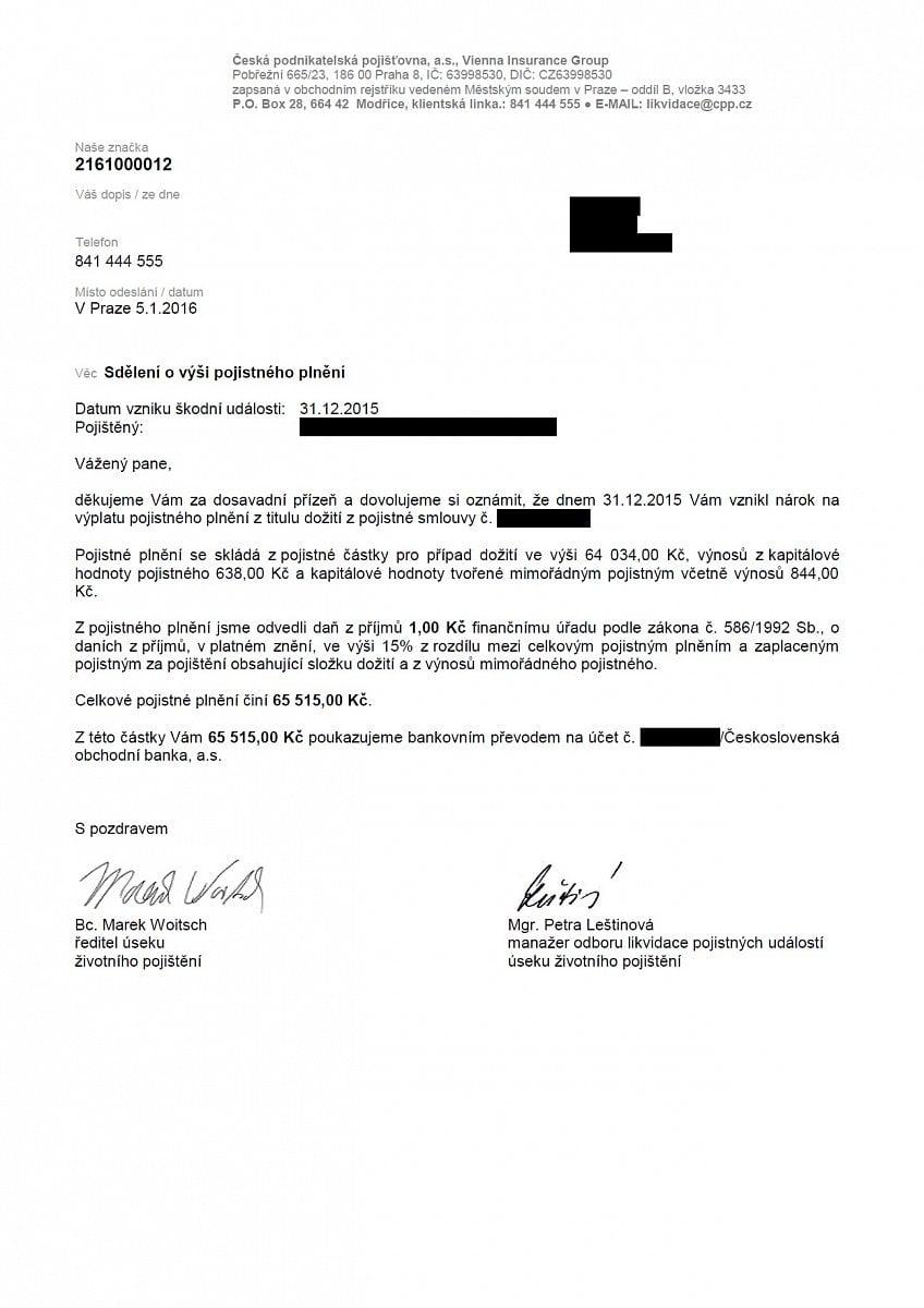 Dopisy zasílané pojišťovnou při dožití smlouvy