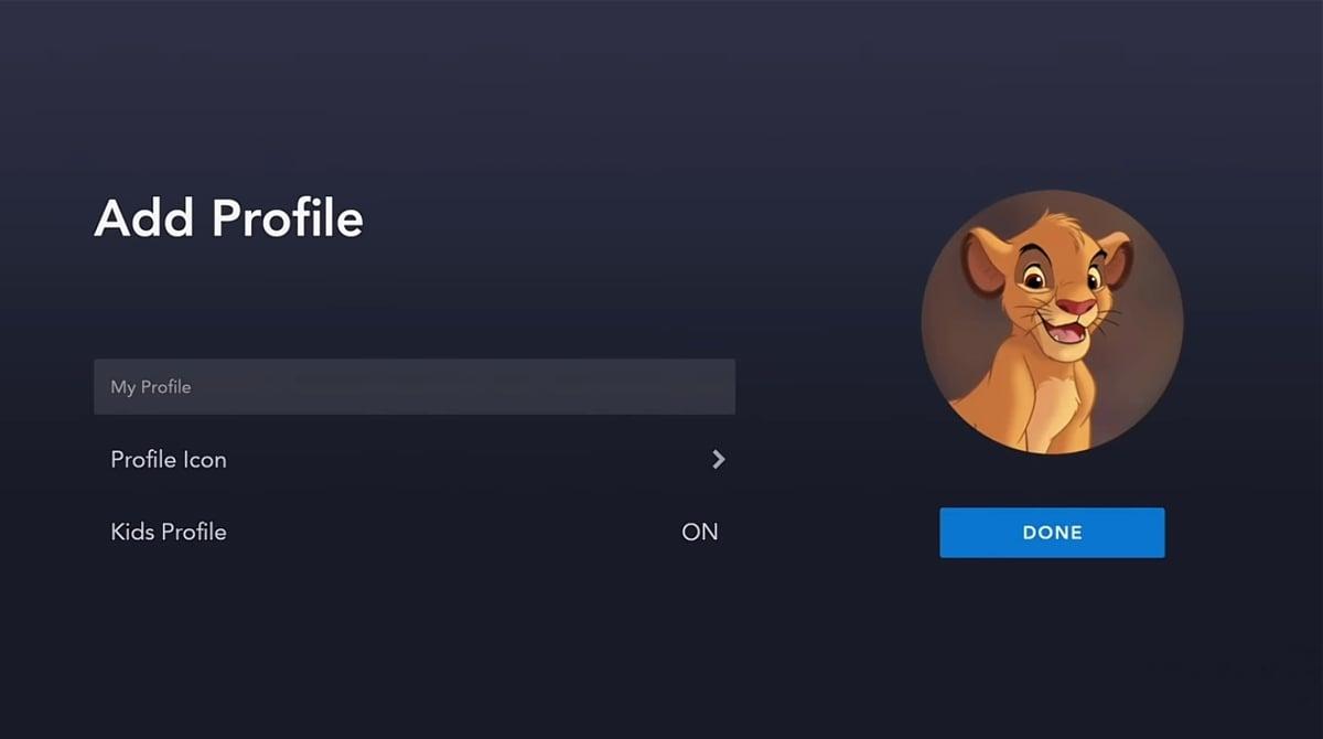 Vytváření profilu k uživatelskému účtu Disney+