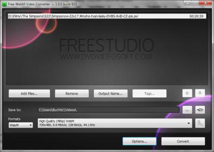 Pomocí Free WebM Video Converter převedete videa z a do formátu WebM