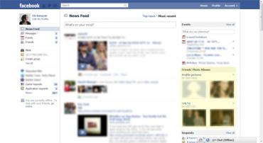 Facebook testuje novou podobu homepage s fotogaleriemi přátel. Zdroj: All Facebook.