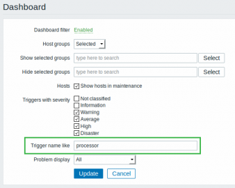 Zabbix 3.0 dashboard filter by trigger
