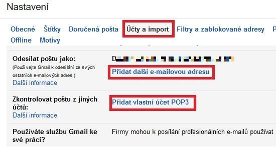 Konfigurace e-mailového klienta Gmail ve webovém rozhraní