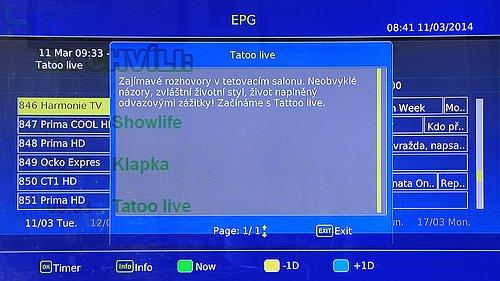 Ukázka z EPG televize Harmonie v Regionální síti 4