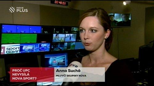 Mluvčí Novy Anna Suchá v reportáži věnované vyřazení sportovního kanálu z nabídky kabelového operátora UPC Česká republika