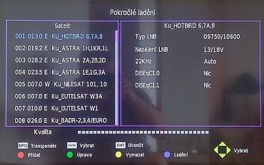Mohl jsem ladit pouze DVB-T, takže tady je alespoň základní obrazovka televizoru pro satelitní připojení.