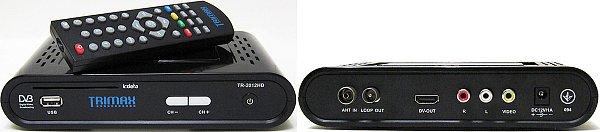 Přední a zadní panel přijímače TRIMAX TR-2012 HD s dálkovým ovládáním