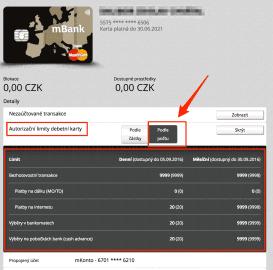 Karty mBank si můžete nastavit podle POČETNÍCH limitů.