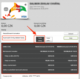 Karty mBank si můžete nastavit podle OBJEMOVÝCH limitů.