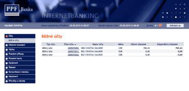 Internetové bankovnictví PPF banky.