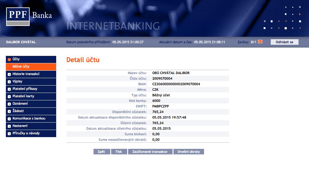 Internetové bankovnictví PPF banky