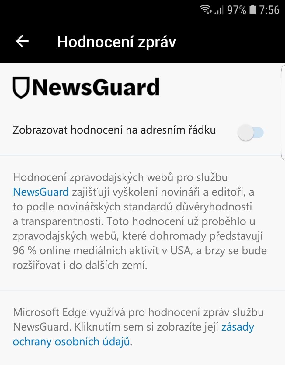 Microsoft Edge a hlídání důvěryhodnosti médií NewsGuard