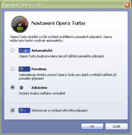 <p>Nastavení funkce Turbo pro rychlejší načítání webových stránek.</p>