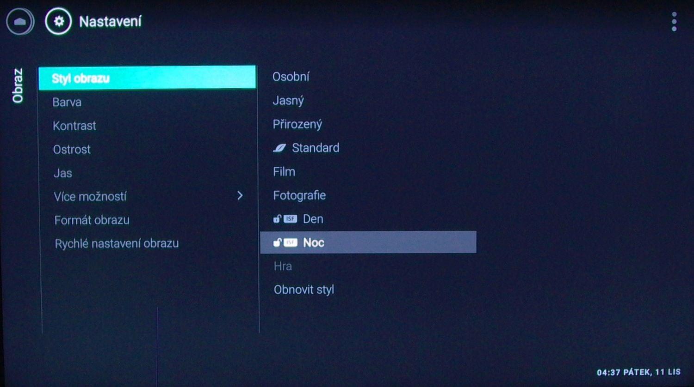 Philips 65PUS7601 - menu nastavení