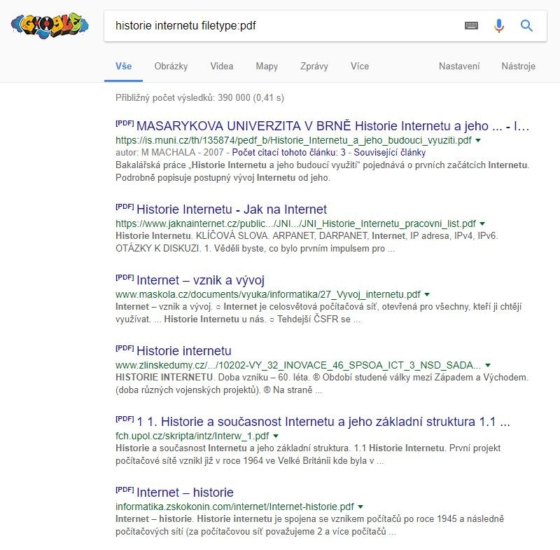 Pokud hledáte soubor ve formátu PDF, tak to Googlu řekněte, ať ví, co má hledat