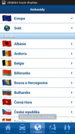 Vyhledávání ambasád jednotlivých zemí.