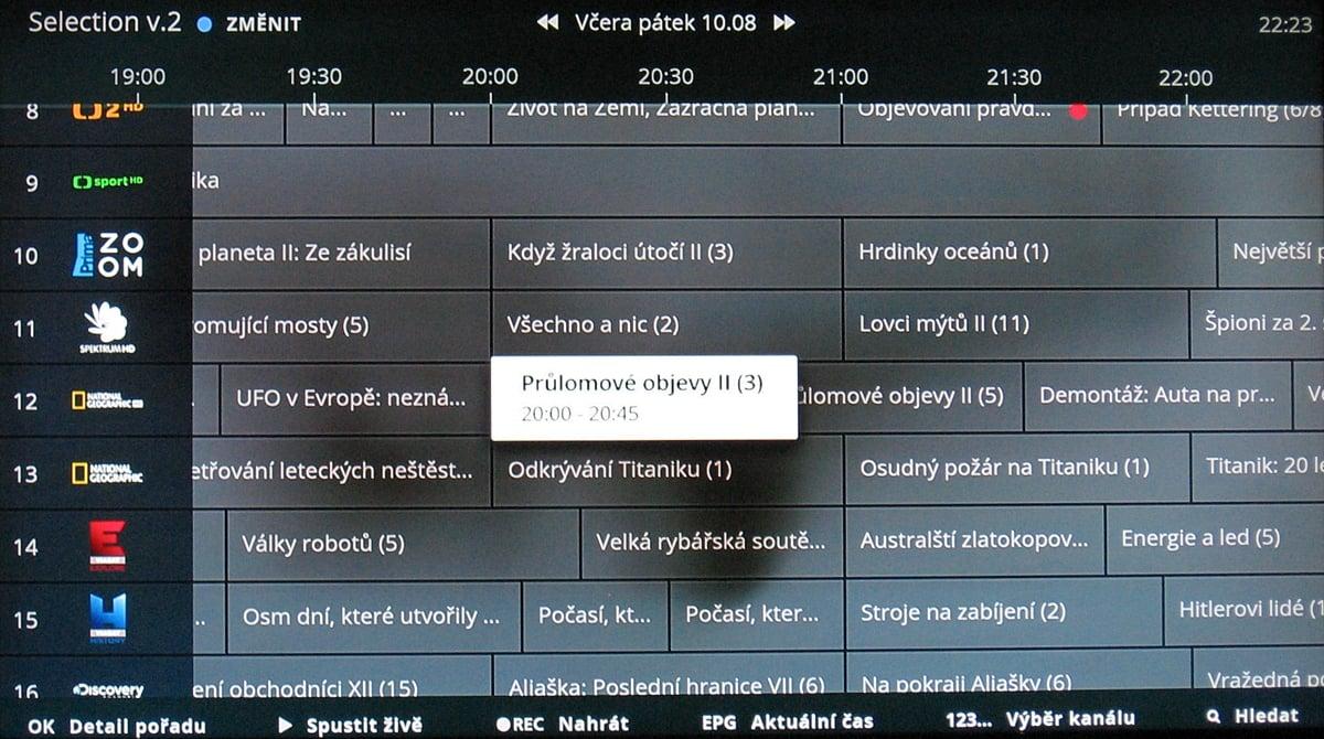 NG box O2 TV – EPG 2