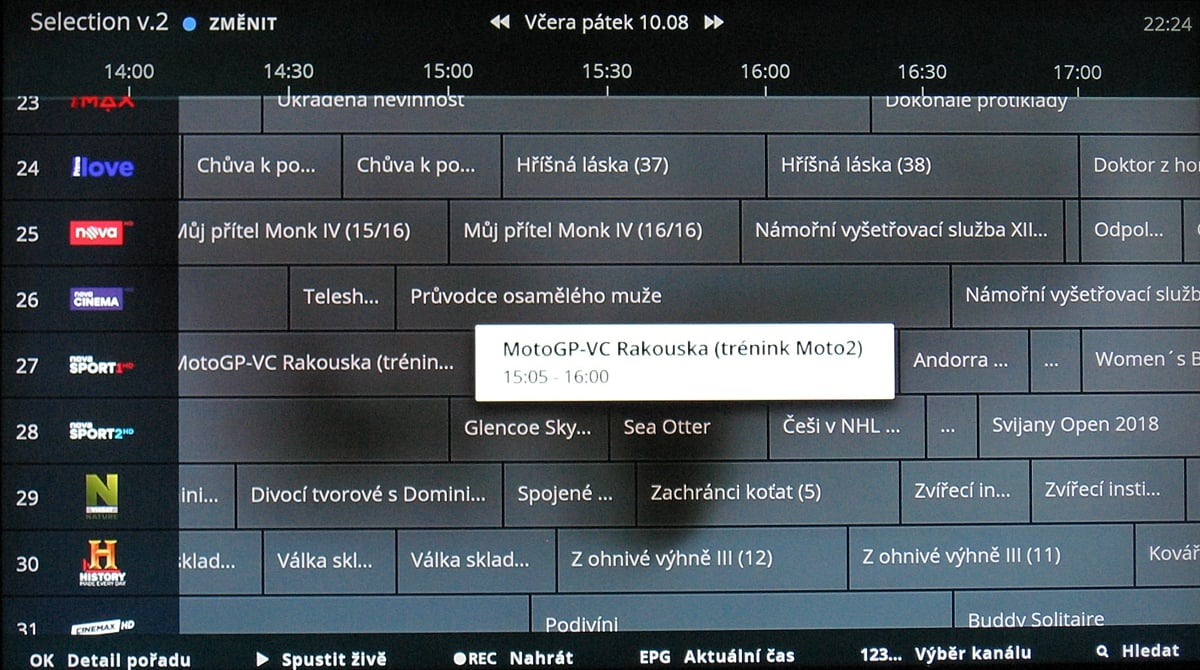 NG box O2 TV – EPG 2