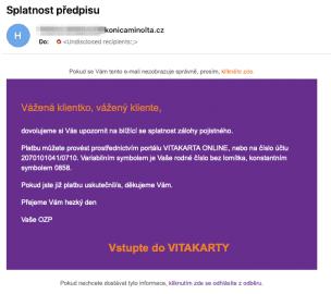 Technická chyba, při které byl odeslaný e-mail i nepojištěncům OZP. (22. 4. 2020)
