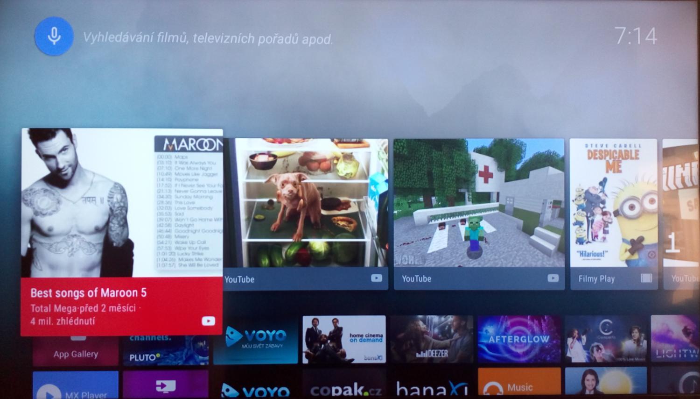 Android TV – domácí nabídka (Domov)