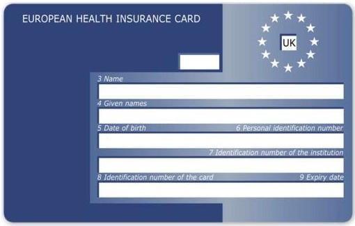 Britský vzor evropského průkazu zdravotního pojištění.