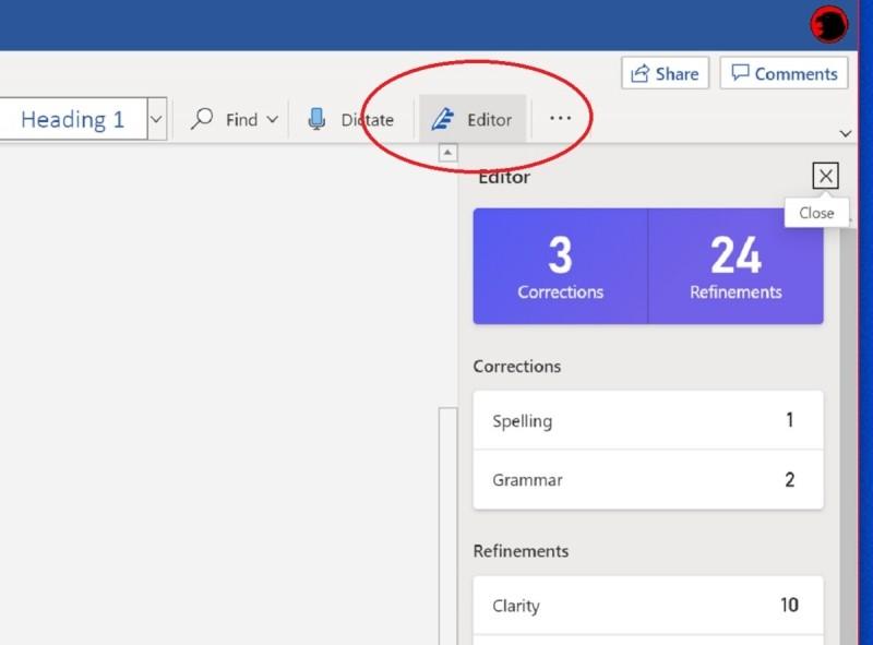 Tlačítko Editoru pro Word Online najdete na pásu karet přesně na tomto místě. Pokud ale nemáte okno s Wordem Online v režimu přes celou obrazovku, může se stát, že část okna pro editor kvůli úspoře místa zmizí a zůstane pouze ikona.
