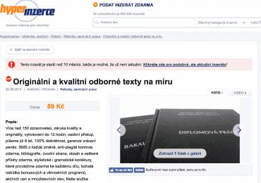 Inzerce Napisemezavas.cz na webu Hyperinzerce.cz z 20. 08. 2014.