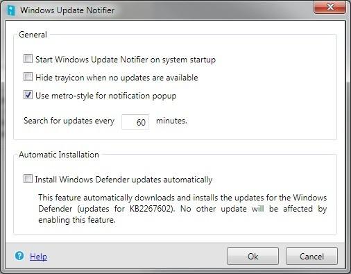 Windows Update Notifier vyhledá aktualizace Windows