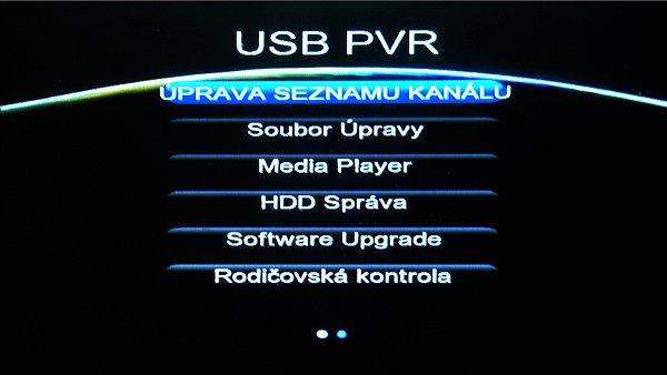 V druhém hlavní Menu je hlavně správa USB
