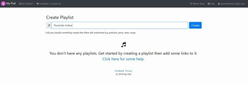 Vytvoření playlistu ve službě My Pod