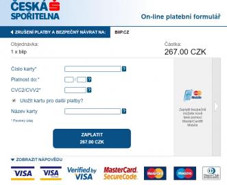 Platba objednané karty on-line.