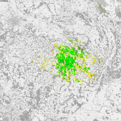 Reálná mapa pokrytí signálem z vysílače Větrný Jeníkov – Skalky. Mapu v plném rozlišení a kvalitě si můžete prohlédnout zde.