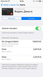 Historii transakcí vidíte i v aplikaci Wallet.