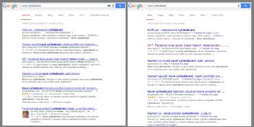 Google zkouší nový vzhled vyhledávání. Nepodtrhané, nepřehledné, zmatené.