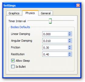 Záložka Physics v konfiguračním okně Settings.