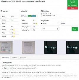 Nabídka certifikátu o očkování proti koronaviru na dark marketu.