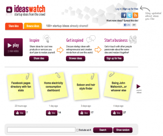 IdeasWatch.com: titulní stránka. Napadlo vás něco, nebo se chcete nechat inspirovat nápadem?