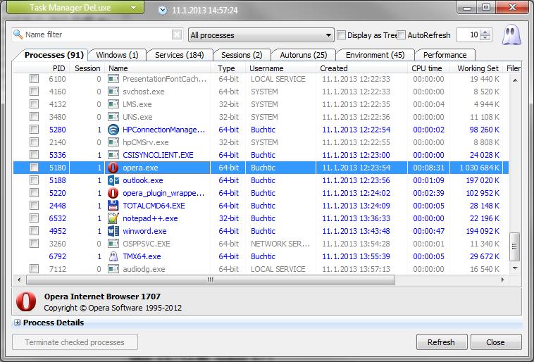 Task Manager DeLuxe zobrazí všechny běžící procesy